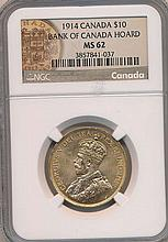 *1914 Canada $10 Bank Of Canada Hoard NGC MS62 Coin