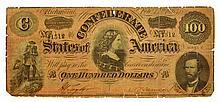 1864 $100 U.S. Confederate Note