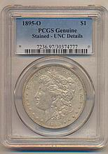 *1895-O Morgan Dollar PCGS Genuine Stained - Unc Details Coin
