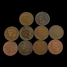10 Misc. Indian Head One Cent Coins
