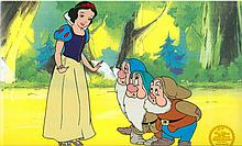 Walt Disney (After) Serigraph, Cel, Snow White and The Seven Dwarfs W/ Certificate Of Authenticity