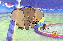 Walt Disney (After) Serigraph, Cell, Dumbo On Stage W/Certificate  Of Authenticity