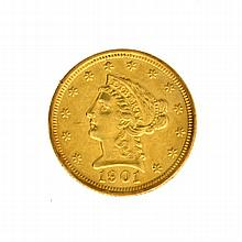 1901 $2.50 U.S. Liberty Head Gold Coin