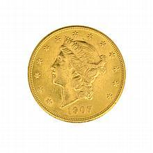 ^*1907 $20 U.S. Liberty Head Gold Coin