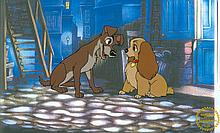 Walt Disney (After) Serigraph, Cell, Lady And The Tramp W/ Certificate Of Authenticity