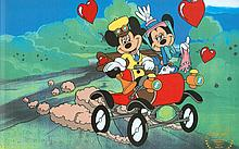 Walt Disney (After) Serigraph, Cell ,Mickey and Minnie Nifty Nineties On Road W/ Certificate Of Authenticity