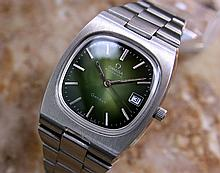 *Mens Rare Vintage Swiss Large Omega Automatic Geneve Stainless 1970 W/Date (427)