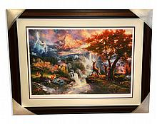 Thomas Kinkade - Museum Framed & Matted Lithograph - Signed, Numbered ''Bambi's First Year'' Rare