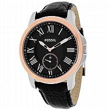 *Fossil Men's Grant Stainless Steel Case, Leather Strap, Black Dial, Quartz Movement, Scratch Resistant Mineral, Water Resistant up to 5 ATM - 50 meters - 165 feet