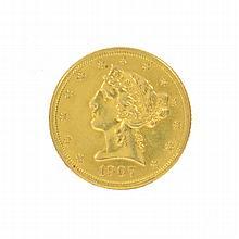 *1907 $5 U.S. Liberty Head Gold Coin