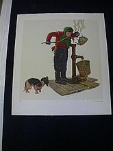 Norman Rockwell Encore Lithograph - ''Winter Morning''