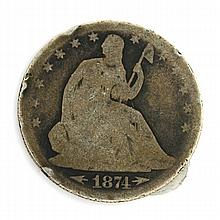 1874 Arrows At Date Liberty Seated Half Dollar Coin