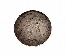 1853 Arrows At Date Liberty Seater Quarter Dollar Coin