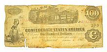 1863 $100 Confederate Note