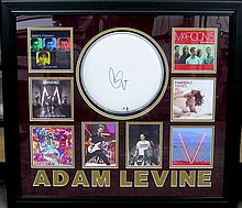 Authentic Adam Levine Signature On Drumhead collage
