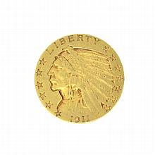 *1911-S $5 U.S. Indian Head Gold Coin