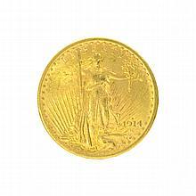 *1914-S $20 U.S. Saint Gaudens Gold Coin