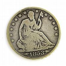 1853 Arr. Liberty Seated Half Dollar Coin