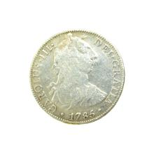 1785 Extremely Rare Eight Reales American First Silver Dollar Coin