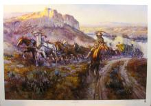 CHARLES M. RUSSELL (After) The Jerk Line Print, 32'' x 23''