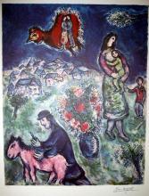 MARC CHAGALL (After) Sur La Route du Village Print, 242 of 500