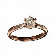 APP: 7.1k 14 kt. Rose Gold, 0.57CT Round Cut Diamond Ring