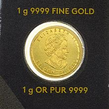 1g Fine Gold Maple Leaf Royal Canadian Mint Coin
