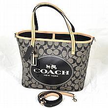 ^Brand New Coach Signature Metro Horse Carriage Black/White Shoulder Handbag