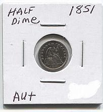 *1851 Half Dime AU+ Coin (JG 1851H10cj1816)