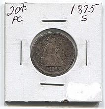 *1875-S 20c Piece Coin (JG 1875s20cj1816)
