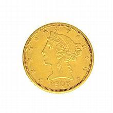 1906 $5 U.S. Liberty Head Gold Coin