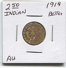 *1914 $2.50 Indian AU Better Date Coin (JG 1914250IAUj1816)