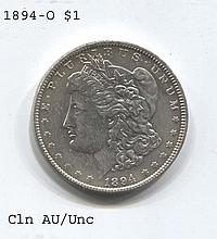 *1894-O Morgan $1 Cleaned AU/Unc Coin (JG 1894O$cj1816)