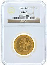*1882 $10 U.S. MS 62 NGC Liberty Head Gold Coin (DF)