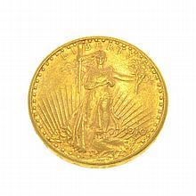 *1910-S $20 U.S. Saint Gaudens Gold Coin (DF)