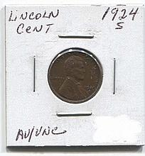 *1924-S Lincoln Cent AU/Unc Coin (JG 19241cj1816)