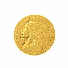 *1911 $5 U.S Indian Head Gold Coin (DF)