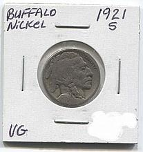 *1921-S Buffalo Nickel VG Coin (JG 1921S5cj1816)