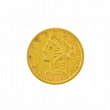 1882 $5 U.S. Liberty Head Gold Coin
