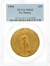 *1908 $20 U.S. PCGS MS62 Saint-Gaudens Gold Coin (DF)