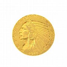 *1911-S $5 U.S Indian Head Gold Coin (DF) Coin