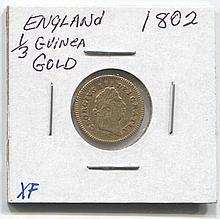 *1802 England 1/3 Guinea Gold XF Coin (JG Guineaj1816)