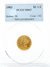 *1903 $2.50 U.S. PCGS MS63 Liberty Head Gold Coin (DF)