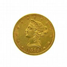 *1893 $10 U.S. Liberty Head Gold Coin (DF)