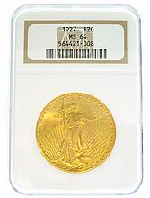 *1927 $20 U.S. MS 64 Saint Gaudens Gold Coin (DF)
