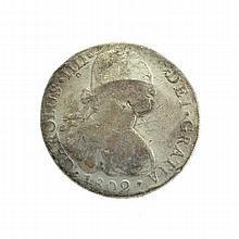 1802 Eight Reales American First Silver Dollar Coin