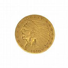 *1910 $2.5 U.S. Indian Head Gold Coin (DF)