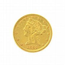 *1881 $5 U.S Liberty Head Gold Coin (DF)