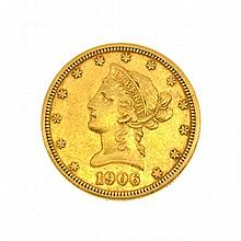 *1906-D $10 U.S. Liberty Head Gold Coin (DF)