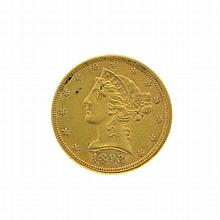 *1893 $5 U.S. Liberty Head Motto Above Eagle Gold Coin (DF)